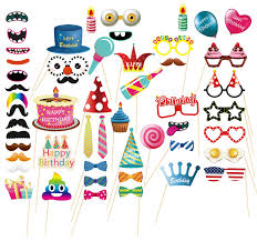 MOT Global Birthday Photo Booth Props - 52 Pieces Photo Props Kits For  Birthday Party Supplies