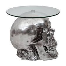 beistelltisch totenkopf hwc a19 polyresin glastisch wohnzimmertisch silber 52x55x55cm
