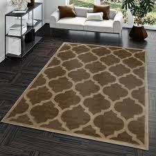 details zu kurzflor teppich modern marokkanisches design wohnzimmer interior trend braun