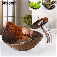 ouboni grün braun blatt schiff wasserfall becken gehärtetem glas waschbecken badezimmer waschbecken waschbecken solide messing polnischen wasserhahn
