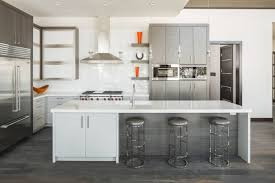 kitchen contemporary kitchen features white grey cabinets also