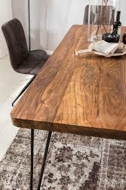 wohnling esstisch bagli massivholz sheesham 180 cm esszimmer tisch holztisch metallbeine küchentisch landhaus dunkel braun
