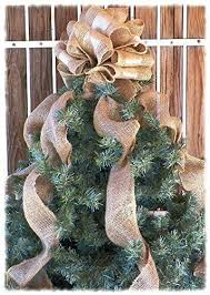 12 Inch Gold Ribbon And Burlap Christmas Tree Topper With Streamers