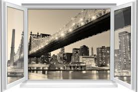 wandtattoo wandbild fenster new york skyline city big apple bridge wohnzimmer deko