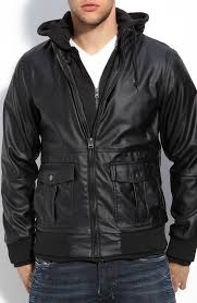 obey rapture hooded faux leather bomber jacket in black for men lyst