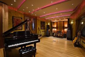 Decorating Home Music Studio Floor Plans With Modern Recessed Lighting Design And Guitar Rack Ideas Acoustic Treatment