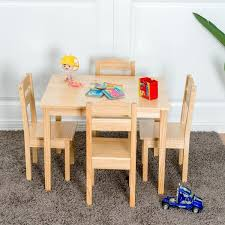 Childrens Wooden Table And Chairs Kids 5 Piece Table Chair Set Pine ...