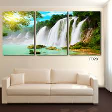 Free Shipping 3 Piece Wall Art Painting Canvas Strong Waterfall Natural Beauty Modern Picture Home Decor In Calligraphy From