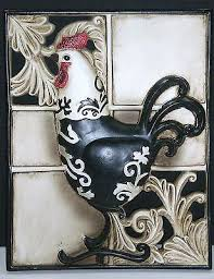 NEW French Country Rooster Decorative Wall Plaque Tuscan Resin 3 D Home Decor