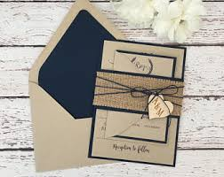 Rustic Wedding Invitation Burlap Navy Blue Wooden Heart