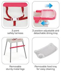 LuvLap 4 In 1 Booster High Chair- Red | Tanman Toys