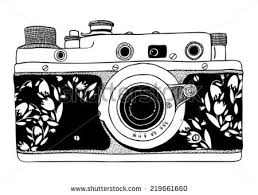 Vector Retro Hand Drawn Hipster Isolated Photo Camera