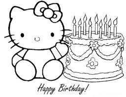 Hello Kitty Happy Birthday Coloring Pages