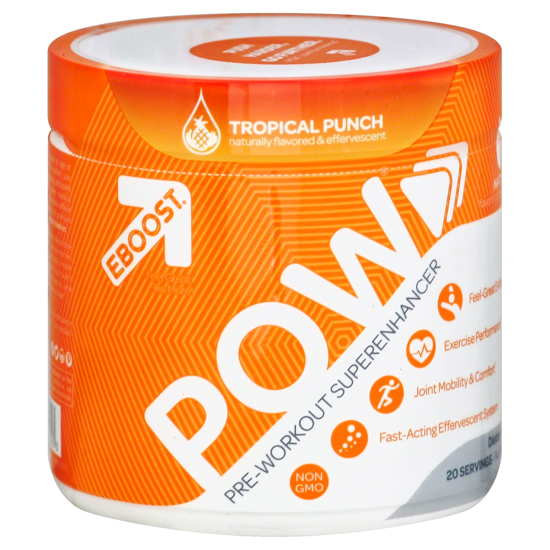 Eboost Pow Pre-workout Powder Supplement - Tropical Punch, 20 Servings