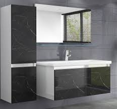 homeline badmöbel set luuci 90 1x h 90 cm badmöbel set schwarz weiss marmor optik hochglanz luuci badezimmermöbel bad 5 teilg 5 tlg