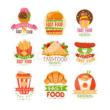 Fast Food Logos Set Burger Cupcake Pizza French Fries Croissant Sausage Sandwich Ice Cream Cone Vector Illustrations On A White Background