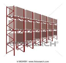 Clipart Of Shelves Manufacturing Storage In A Warehouse With Goods