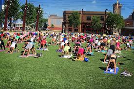 Image Of Yoga Class On Fake Turf