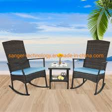 [Hot Item] Rattaner Outdoor 3 Piece Wicker Rocking Chair Set Patio Bistro  Set Conversation Furniture-2 Rocker Chair And Glass Coffee Side Table-&  Blue ...