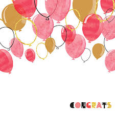 Watercolor pink red and glittering gold balloon vector art illustration