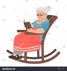 Old Woman Rocking Chair Reading Book Stock Image | Download Now