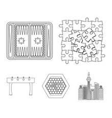 Board Game Outline Icons In Set Collection For Vector Image