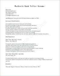 Objective For Bank Teller Resume Examples Of
