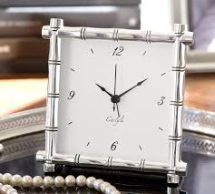 The Pottery Barn silver plated bamboo clock $49 is chic and
