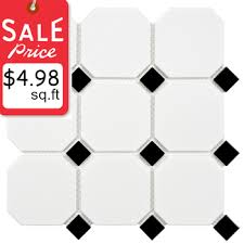 4 inch octagon and dot collection matte white with black dot