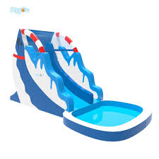 Large Dolphin Inflatable Pool With Big Slide Giant Water Park For Kids
