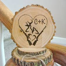 Rustic Wedding Cake Topper Personalized Wood Deer Couple Hunter Heart Rifle Country