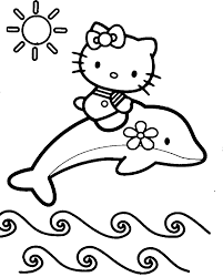 Hello Kitty Is Up Above The Dolphins Coloring Page