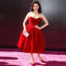 Katy Perry Celebrity Dresses Velvet Vintage Sweetheart Ball Gown Red Prom Carpet Knee Length Cocktail Gowns In Inspired