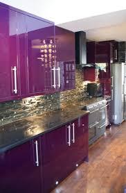 Modern Purple Kitchen Design Inspiration With Glossy Cabinets And Nature Stone Backsplash