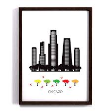 100 Scandinavian Design Chicago City Poster Art Print Design Modern Poster