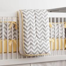 gray and yellow zig zag 3 piece crib bedding set carousel designs