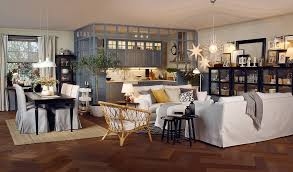 Open Plan Kitchen And Living Room In Beige Grey Black