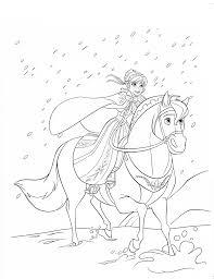 Elsa Riding Horse Free Coloring Page O Disney Frozen Kids
