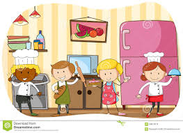 Chef And Bakers Working In The Kitchen Stock Vector