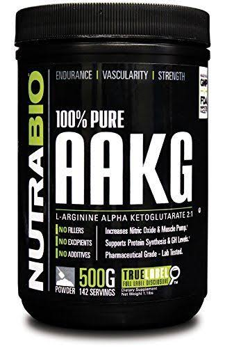 NutraBio 100 Percent Pure AAKG Powder Supplement - Nitric Oxide Booster, 500g