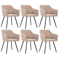 vidaxl esszimmerstühle 6 stk taupe stoff