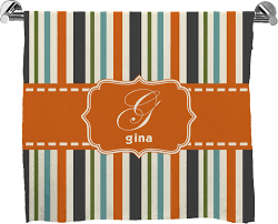 Orange & Blue Stripes Bath Mat Personalized