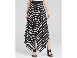 dkny striped handkerchief hem midi skirt in black lyst
