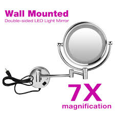 led lighted makeup wall mount 7x magnifying bathroom mirror