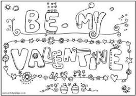 Be My Valentine Colouring Page