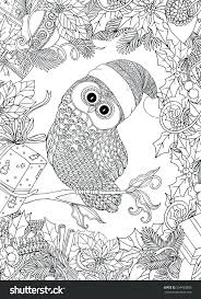 Coloring Book Adult Older Children Page Cute Owl Cap Wreath Frame Outline Drawing Style Pages For