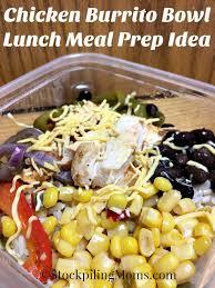 Chicken Burrito Bowl Lunch Meal Prep Idea