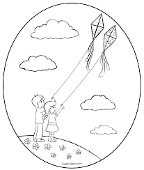 Flying Kites Coloring Page
