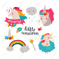 Set Of Baby Unicorn And Rainbow Kids Illustrations For Design Prints Cards Birthday