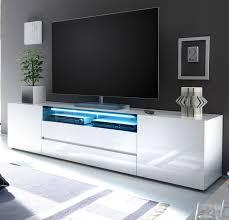 tv lowboard vicenza in weiß hochglanz lackiert fernsehtisch 203 x 49 cm